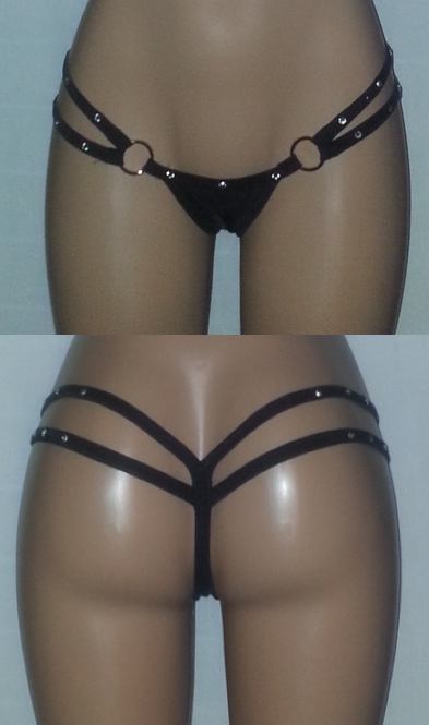 2 Strap Thong With Diamonds